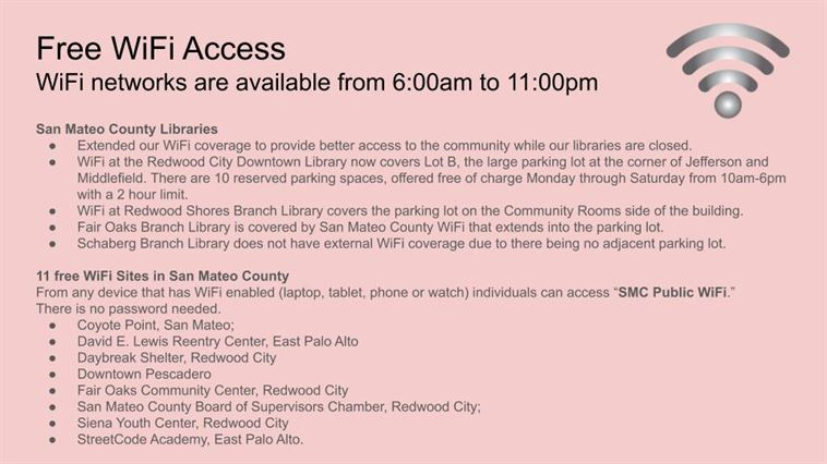 Free WiFi locations in San Mateo County